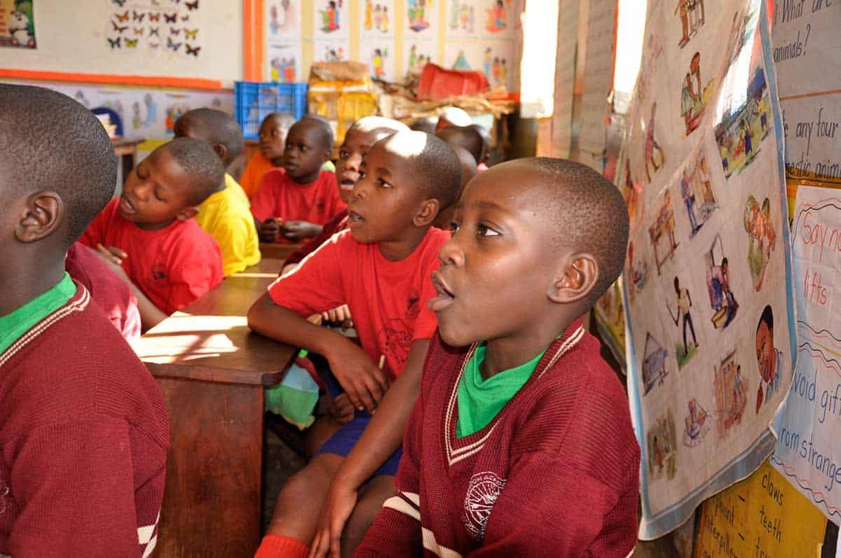 children at school at AAH Uganda
