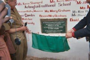 unveiling of plaque at arlington junior school